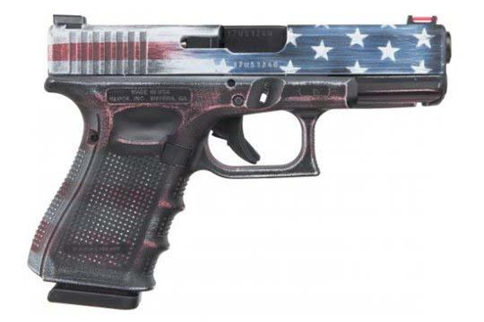 Glock G19 Gen 4 9mm Luger Battleworn US Flag Cerakote Frame
