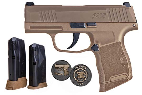 Sig Sauer P365 NRA 9mm Luger Coyote Tan PVD Frame